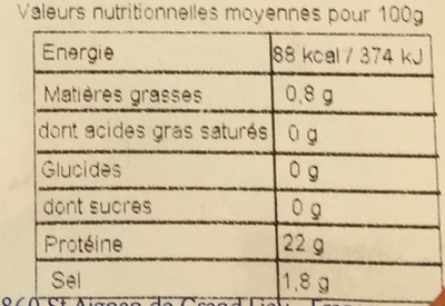 Crevettes entières cuites réfrigérées - Voedingswaarden