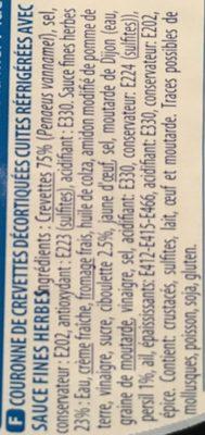 Couronne de crevettes sauce fine herbes - Ingredients