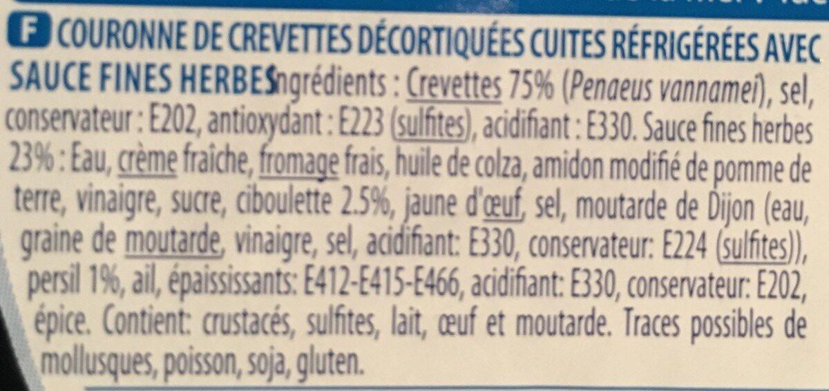 Couronne de crevettes sauce Fine Herbes - Ingrediënten - fr