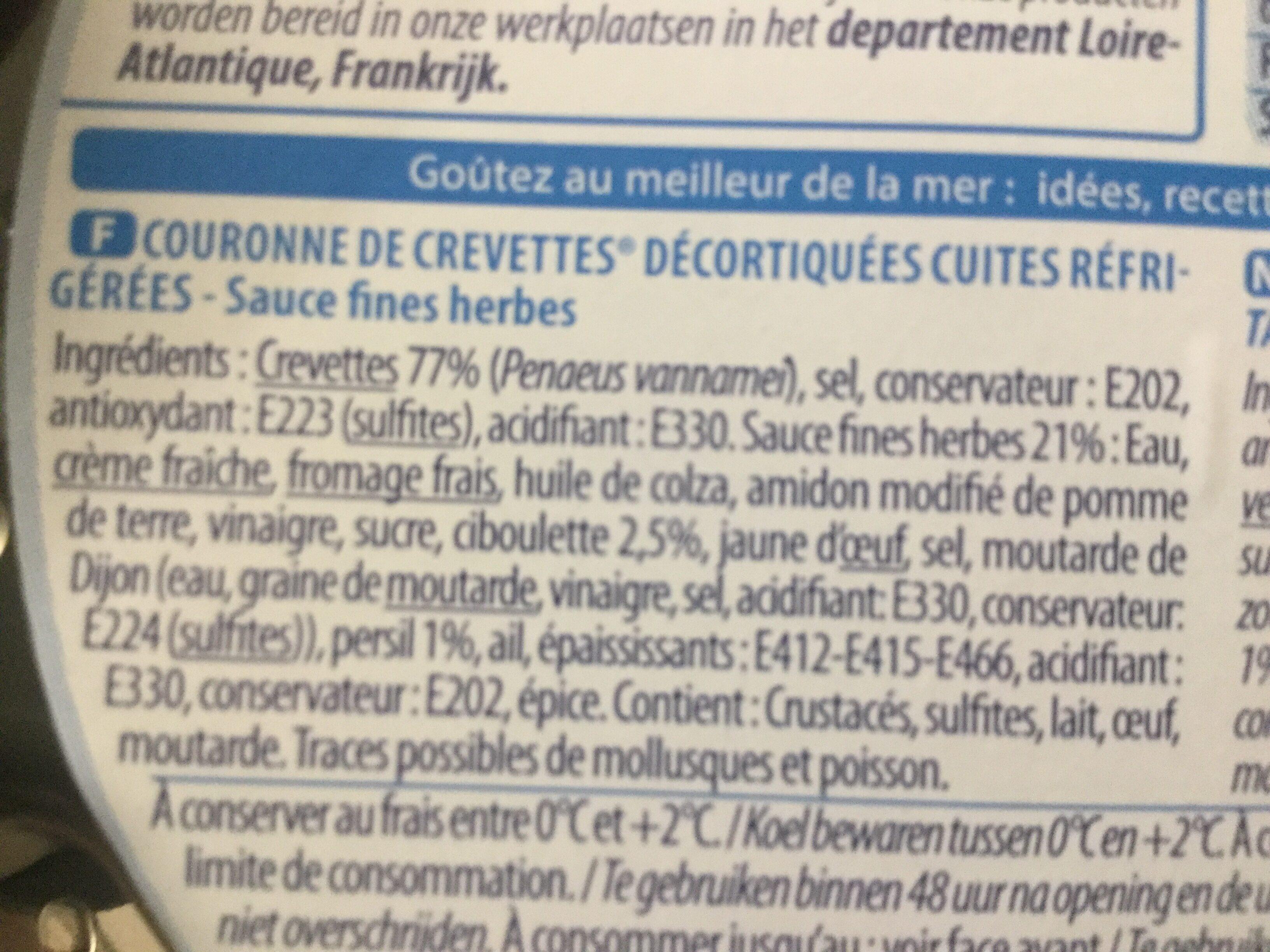 Couronne de crevettes sauce Fines Herbes - Ingrediënten - fr