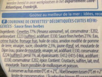 Couronne de crevettes sauce Fines Herbes - Voedingswaarden - fr