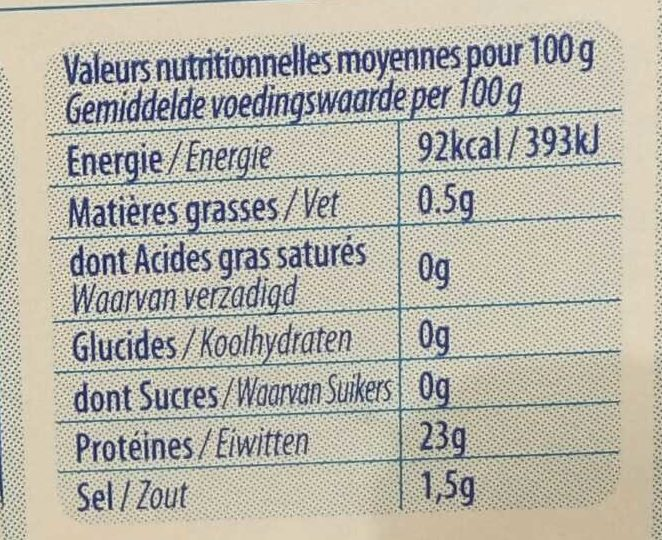 Gambas royales - Informations nutritionnelles