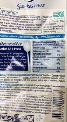 Gambas crues 30/40 400g - Voedingswaarden - fr