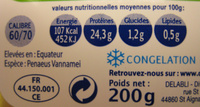 Crevettes Bio Delpierre - Voedingswaarden - fr
