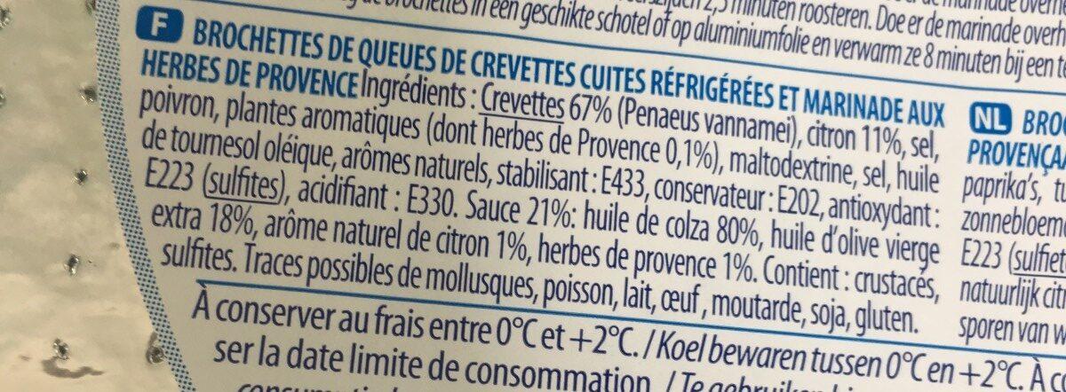 Brochette de crevettes+ Marinade Herbes de Provence - Ingrediënten - fr