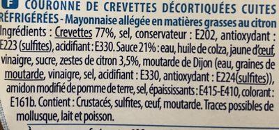 Couronne de crevettes sauce mayonnaise légère citronnée - Ingrediënten - fr