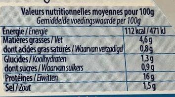 Couronne de crevettes sauce mayonnaise légère citronnée - Voedingswaarden - fr