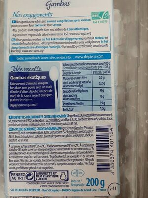 Gambas - Informations nutritionnelles - fr
