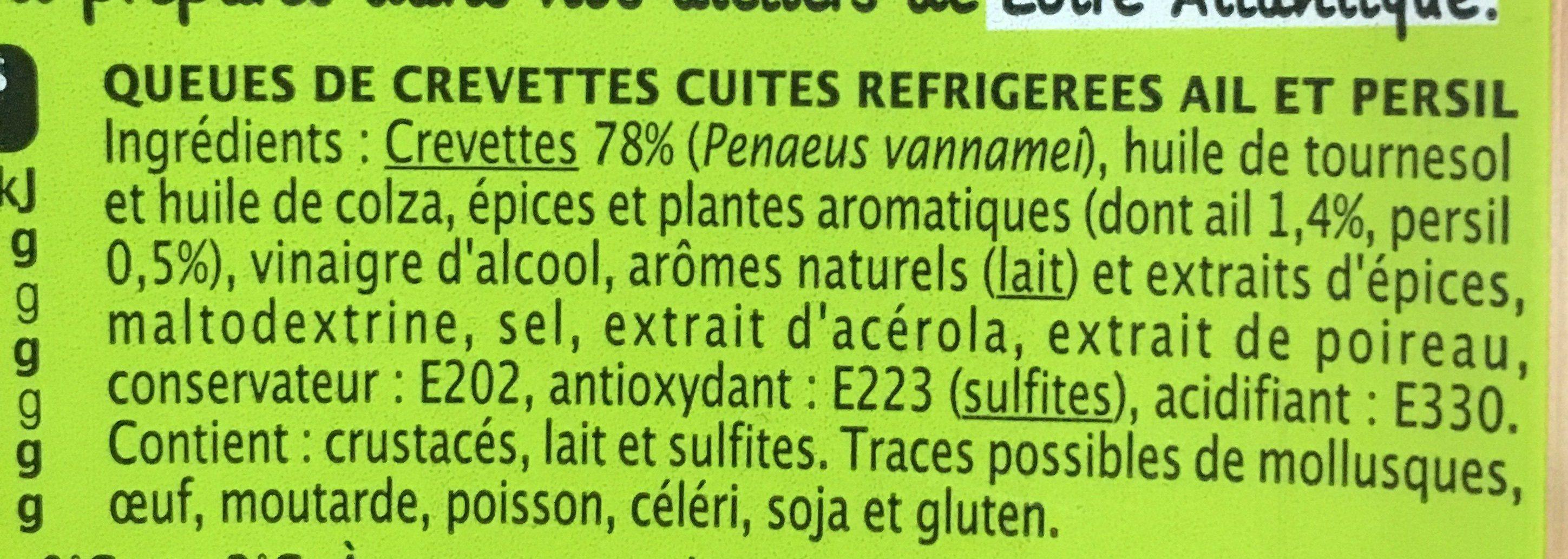 Queues de crevettes marinées ail & persil - Ingrediënten - fr