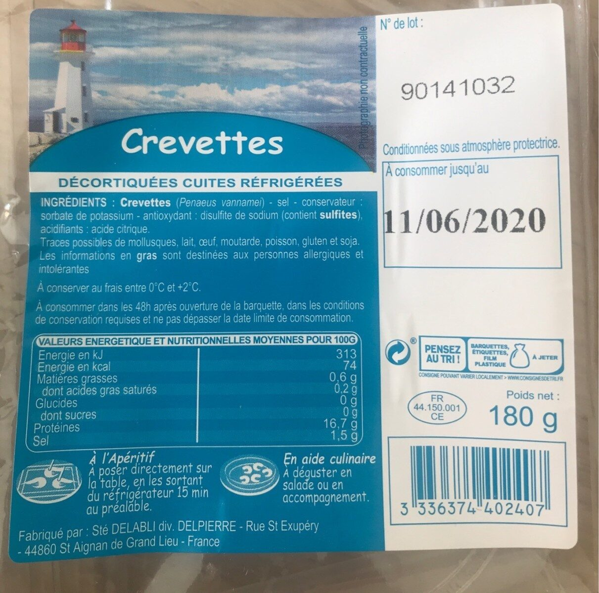 Crevette - Voedingswaarden - fr
