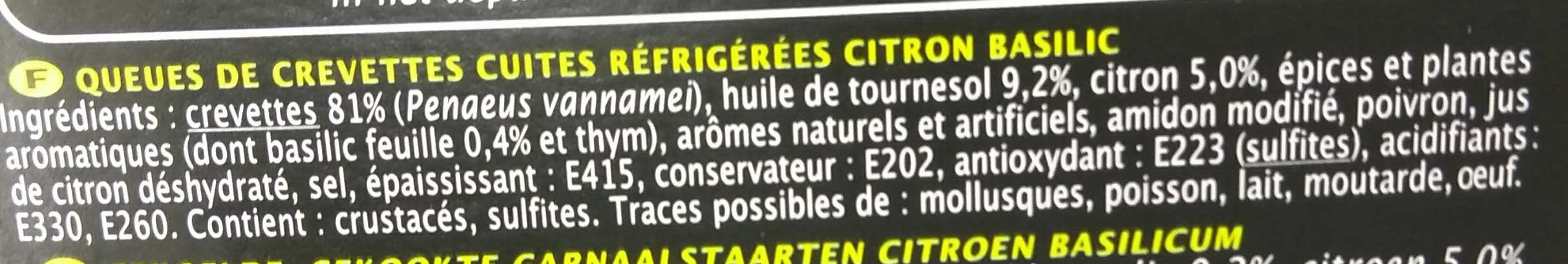 Queues de Crevettes Marinées Citron Basilic - Ingrediënten - fr