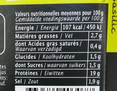 Queues de Crevettes Marinées Citron Basilic - Voedingswaarden - fr