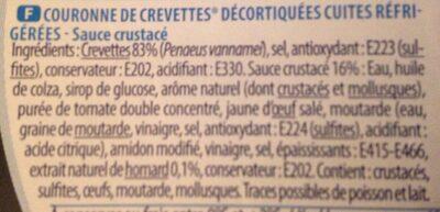 Couronne de crevettes sauce crustacé 220 g - Ingrediënten - fr
