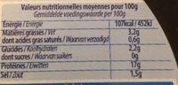Couronne de crevettes sauce crustacé 220 g - Voedingswaarden - fr