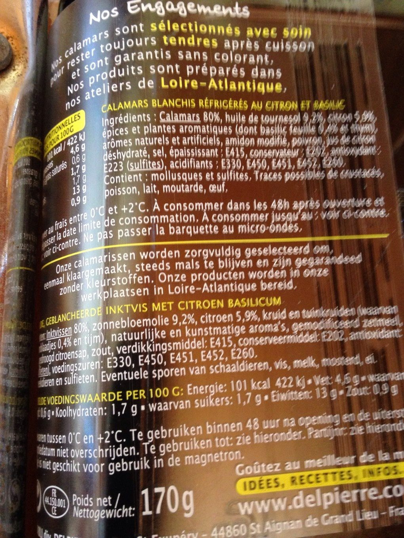 Calamars Marinés Citron Basilic - Voedingswaarden - fr