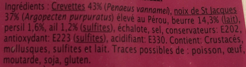 À Poêler Noix de Saint Jacques & Crevettes Beurre Ail et Persil - Ingrédients