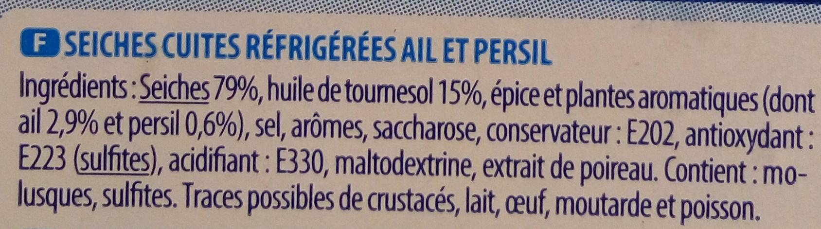 Petites Seiches Marinées Ail et Persil - Ingrediënten - fr