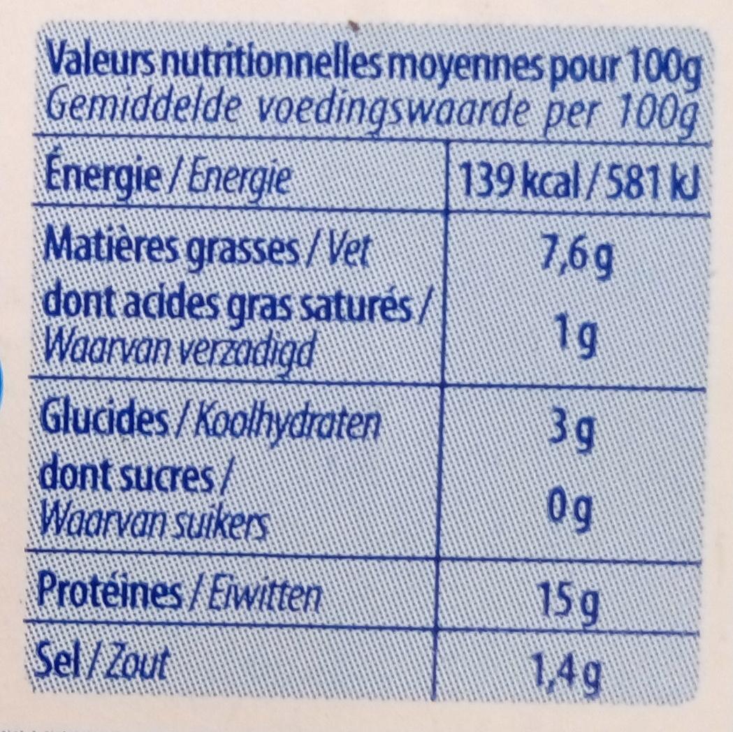 Petites Seiches Marinées Ail et Persil - Voedingswaarden - fr