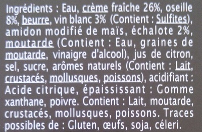 Sauce oseille - Ingredients - fr