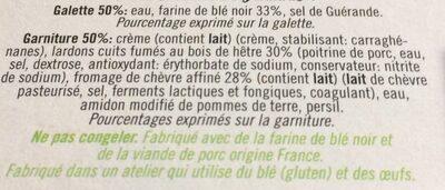Galette de ble noir lardons chevre affine - Ingredients