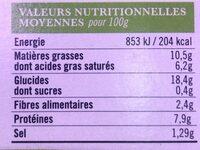 Galette de ble noir lardons chevre affine - Nutrition facts - fr
