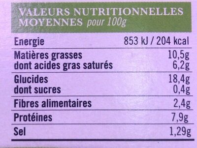 Galette de ble noir lardons chevre affine - Nutrition facts