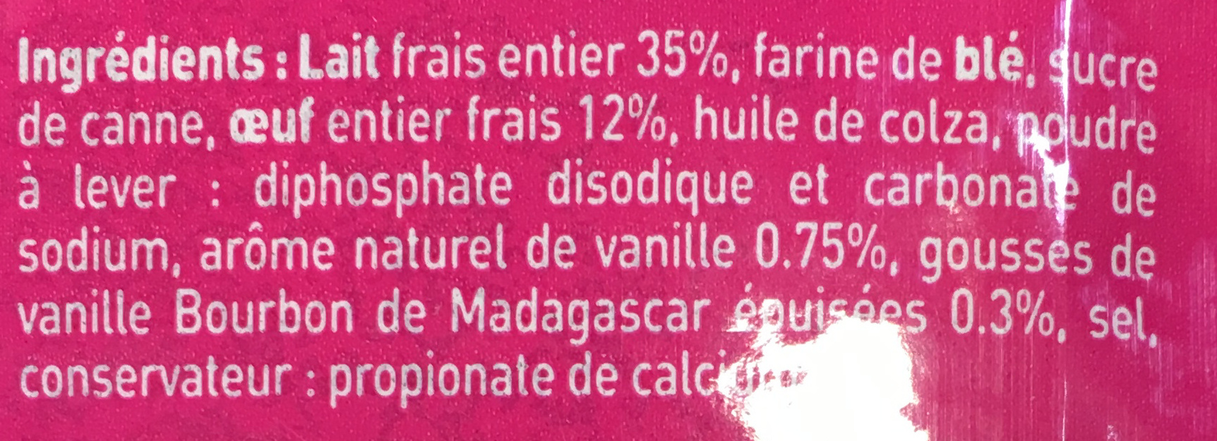 2 Pancakes vanille - Ingrediënten - fr