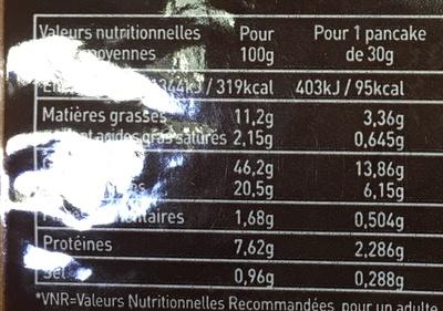 2 Pancakes vanille - Voedingswaarden - fr
