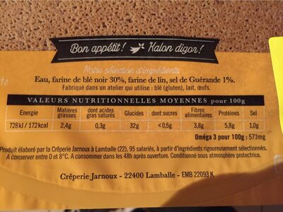 Galette de blé noir au sel de guérande - Nutrition facts - fr