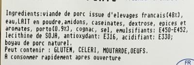 Boudins blancs au Porto - Ingrediënten - fr