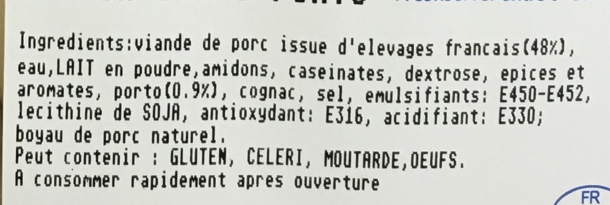 Boudins blancs au Porto - Ingredients - fr