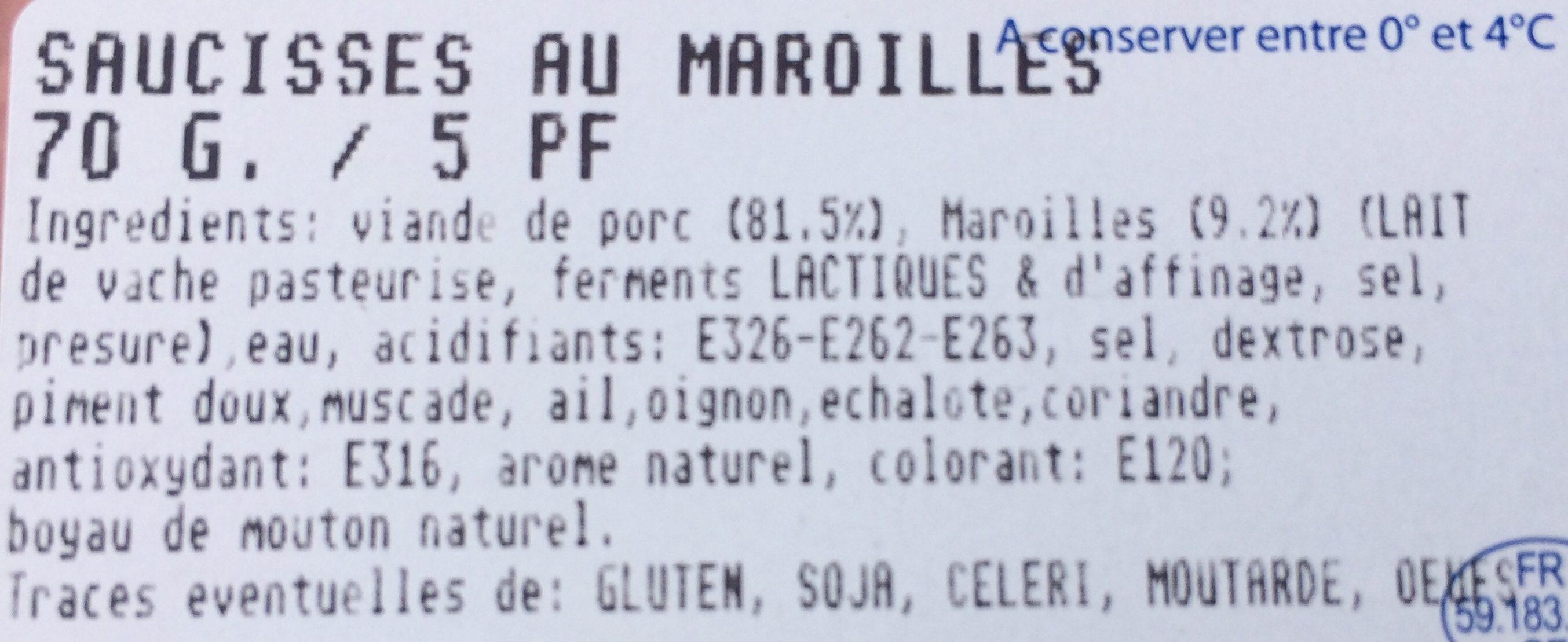Charcuterie Flandres, Saucisses au maroilles, la barquette de 370 g - Ingrédients