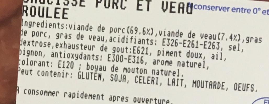 Saucisse roulée porc et veau - Ingrediënten - fr