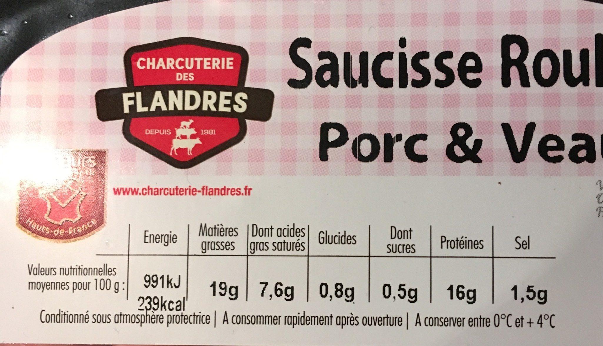 Saucisse roulée porc et veau - Voedingswaarden - fr