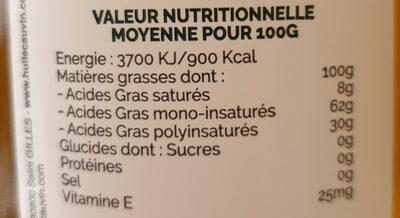Huile de Colza Bio - Valori nutrizionali - fr