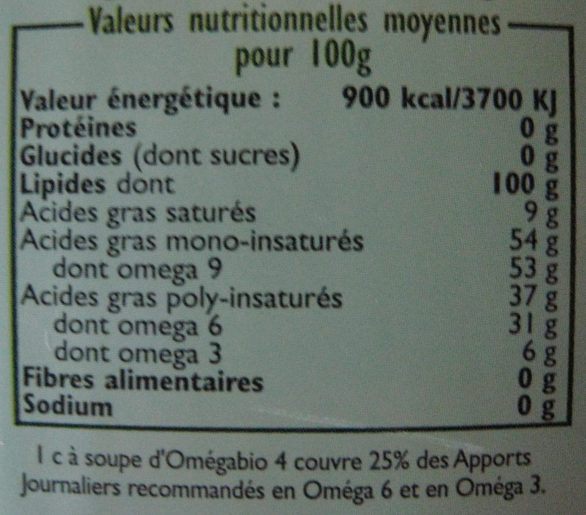 Association de 4 huiles vierges 100% Bio - Nutrition facts