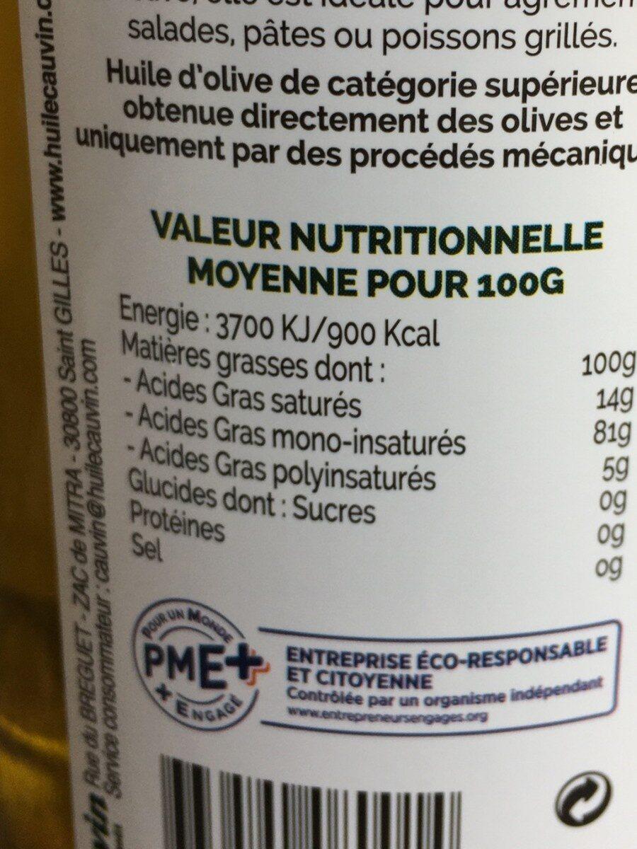 Huile olives - Nutrition facts - fr