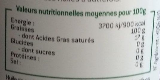 Huile d'olive vierge non filtrée Cauvin - Nutrition facts