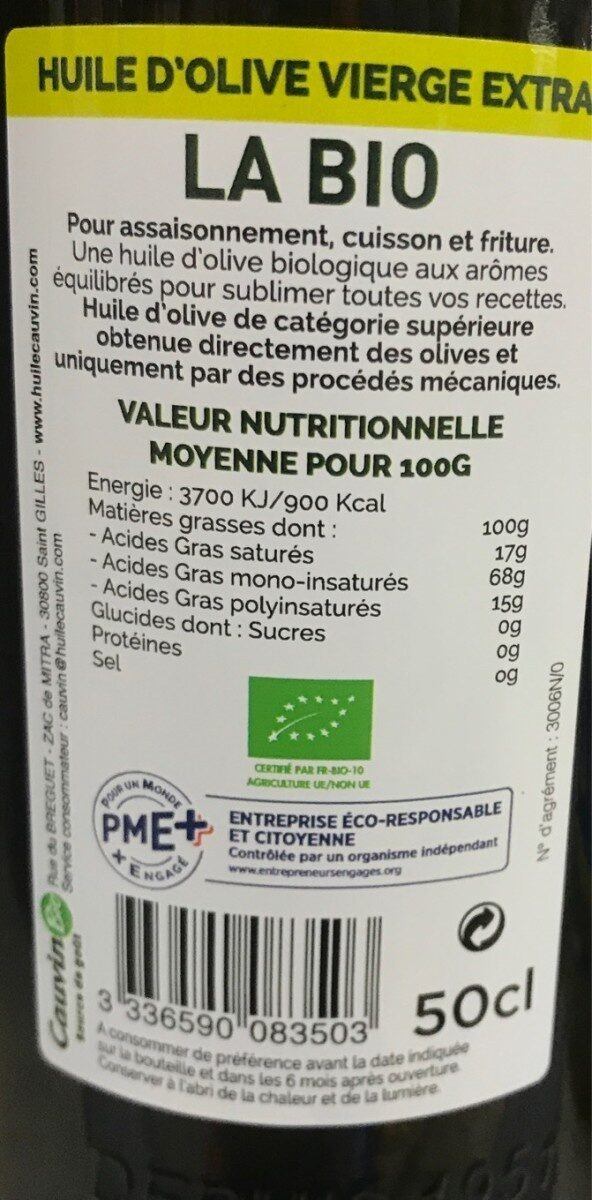 Huile d'olive vierge extra bio - Informations nutritionnelles - fr