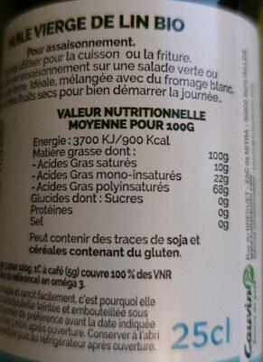 Huile vierge de lin - Información nutricional - fr