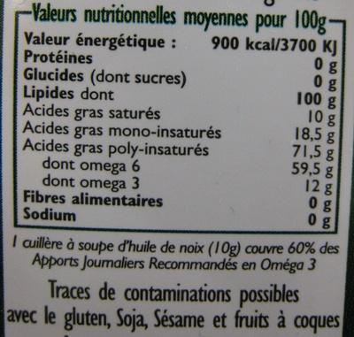 CAUVIN - HUILE VIERGE DE NOIX BIO - Nutrition facts - fr