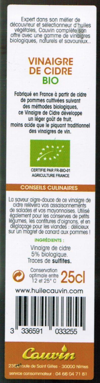 Vinaigre de Cidre Bio - Informations nutritionnelles