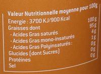 Oil Cauvin Coconut - Voedingswaarden - fr