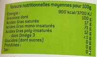 Huile d'olive vierge extra bio cauvin - Informations nutritionnelles - fr