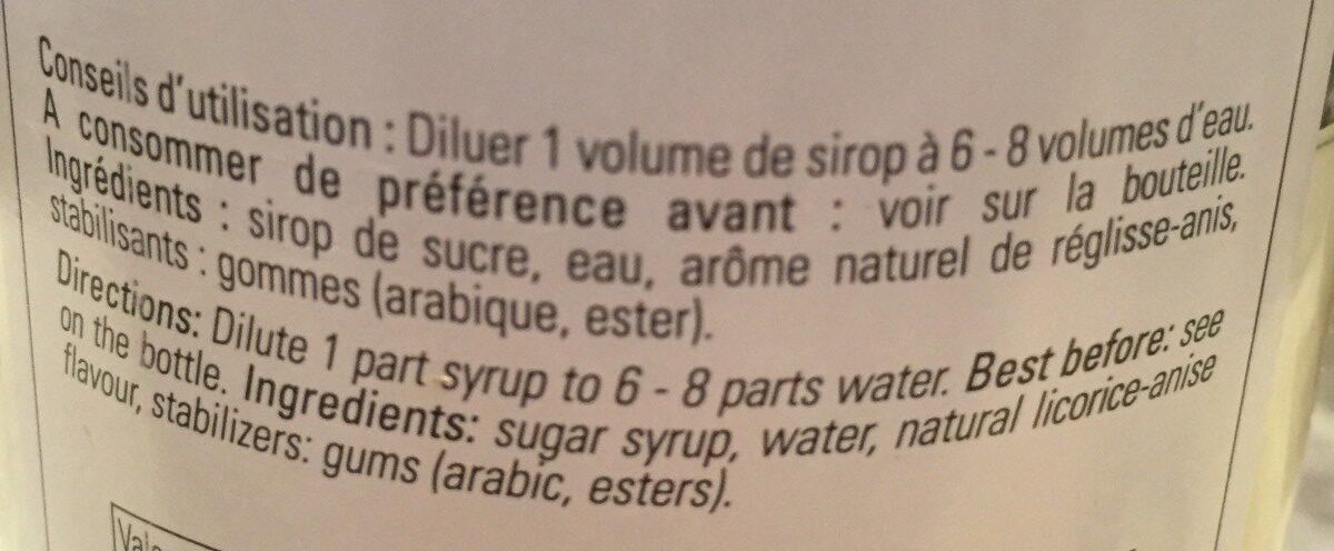 Sirop anis - Ingrediënten