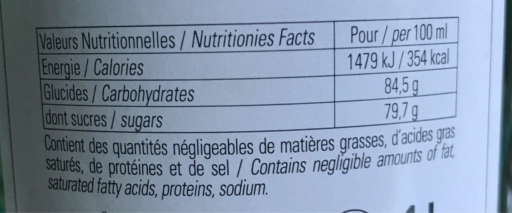 Sirop de Verveine - Informations nutritionnelles