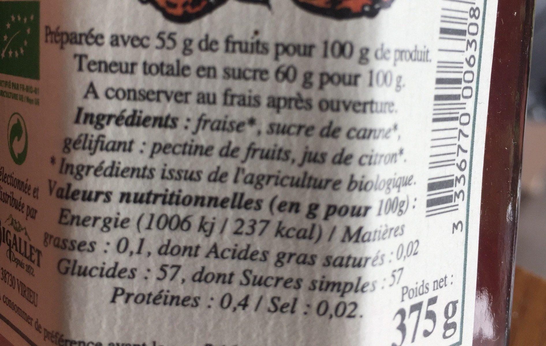 Confiture extra de fraise bio - Ingrédients - fr