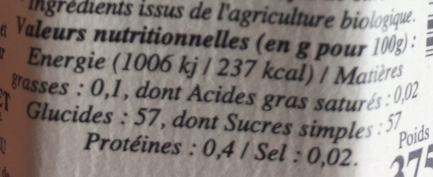 Confiture extra de fraise bio - Informations nutritionnelles - fr