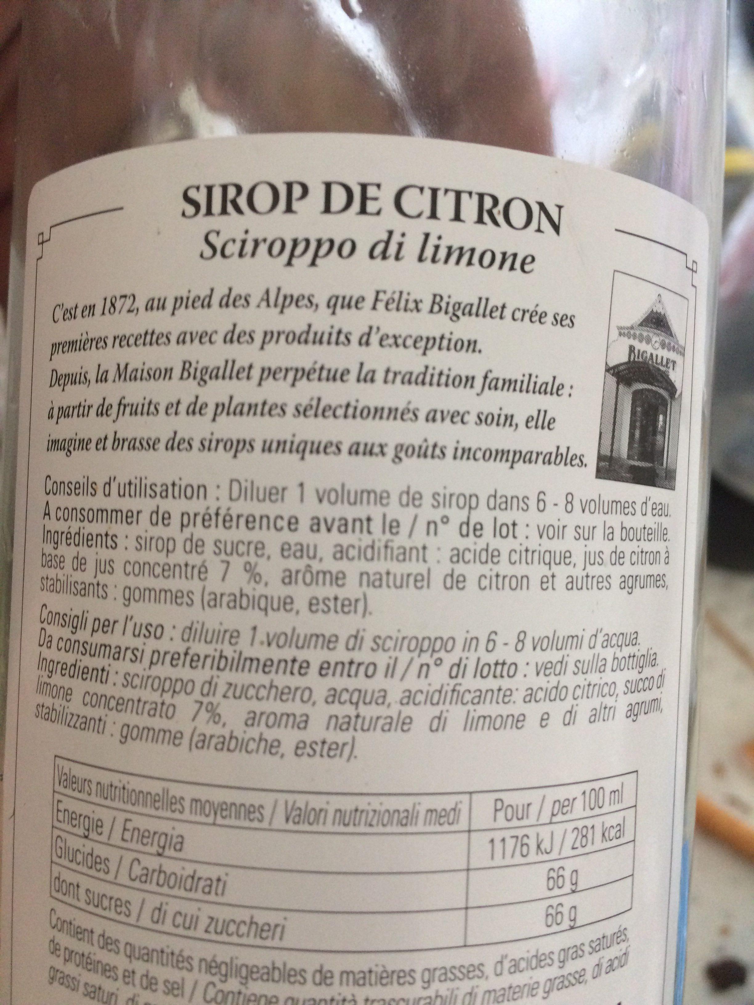 Sirop citron JINOT, 70cl - Ingredients - fr