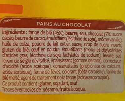 chocolatines - Ingrédients - fr